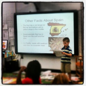 Presenting before his class.